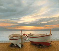 "Inés Tor, ""Atardecer"" óleo sobre tela, 70 x 80 cm."