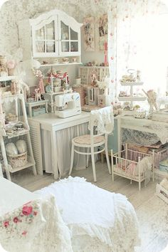 Shabby chic sewing room Looks a bit nicer than mine does at the moment ;)