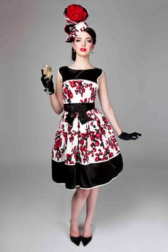 Mackenzie Mode- Champagne and Strawberries Dress in Red Roses