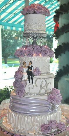 White+Lavender-Wedding Cake- Rhinestones-The Cake Zone