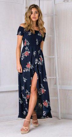 005c54291cbc BOHO Print Floor Length Front Splits Spaghetti Straps Summer Dress. Beach  DressesMaxi ...