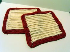 Cotton Dish Cloth/Wash Cloth  Hand Crocheted Set of 2 by USewWhat, $6.50