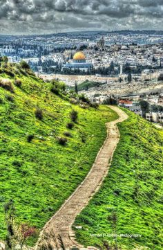 Walking down The Mount of Scopus to the Josaphat Valley. In the distance, Jerusalem