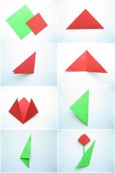 einfache Origami Tulpe falten mit Kindern