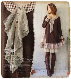 Cotton Lace Collar Plaid Asymmetrical Dress Long Sleeve Knee Length Japanese Forest Gir...