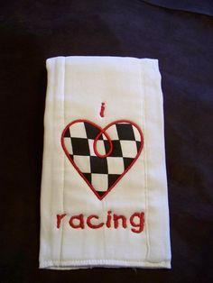 I love racing burp cloth.. $8.00, via Etsy.
