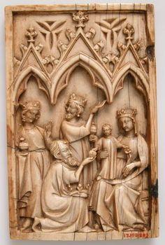 Leaf from a Diptych with the Adoration of the Magi Date: ca. 1350–75 Culture: North French Medium: Ivory Dimensions: Overall: 4 1/2 x 2 7/8 x 3/8 in. (11.5 x 7.3 x 0.9 cm)