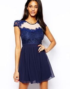 Image 1 ofElise Ryan Skater Dress with Scallop Lace Sweetheart Neck