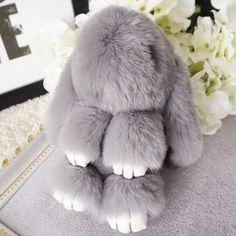 Fashion Rabbit Fur Key Chain Soft Genuine fur pom pom keychain Rabbit pendant key ring trinket Women bag charm