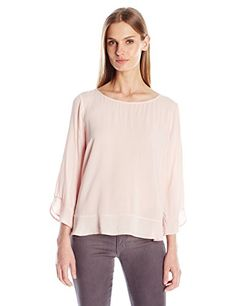 VELVET BY GRAHAM  SPENCER Womens Rayon Challis Ruffle Blouse Pale Pink Medium *** Visit the image link more details.(This is an Amazon affiliate link)