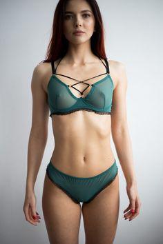 Italian Olives, Green Lingerie, Green Materials, Bikinis, Swimwear, Mesh, Bra, Model, Cotton
