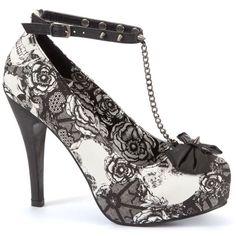 Iron Fist Monochrome Lace Print T-Bar Platform Heels ($110) ❤ liked on Polyvore