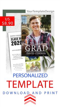 This personalized postcard includes a PSD file to easily insert your photo and edit text. The template is intended for editing and further printing of this file at home, online printer, or local printing house…  #graduation_invitations_template #graduation_invitations #graduation_invitations_2020 #graduation_announcements_high_school_photo_cards #graduation_announcements_2020_wording #graduation_announcements_2020 #graduation_card_ideas_invitations