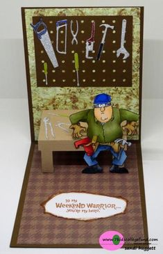 Art Impressions: Weekend Warrior: Ai Heroes ... handmade masculine easel pop up card.  tools, work bench, contractor