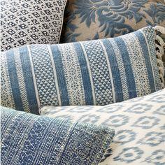 Chalai Bolster Cushion Cover - Blue