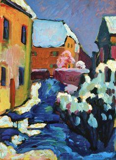 Kochel – Graveyard and Rectory,1909,by Wassily Kandinsky