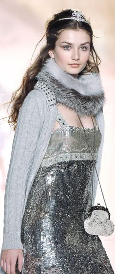 New Years look- sparkly w/ faux fur (my faux'chilla is perf') -Blugirl Marchesa, Christian Dior, Alexander Mcqueen, Runway Fashion, Womens Fashion, Vogue, Creation Couture, Glamour, Color Plata