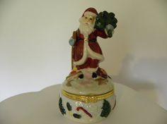 Christmas Gift Santa Claus Porcelain Trinket Box by mariafiggins, $13.90 #Santa_Claus #Santa #Christmas