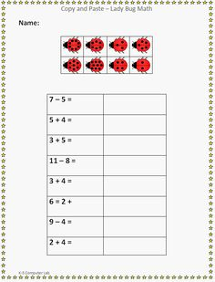 Copy and Paste - Lady Bug Math