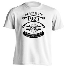 A great 96th birthday gift for someone born in 1921 to give at a birthday party. Whether you are buying this shirt as a gift for somebody special or wearing it yourself; whoever wears it is sure to en