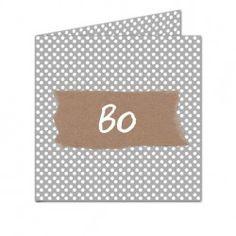 Geboortekaartje Grijs Wit Dots Kraft 'Bo'