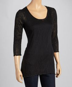 Take a look at this Black Burnout Three-Quarter Sleeve Top by Miraclebody on #zulily today!
