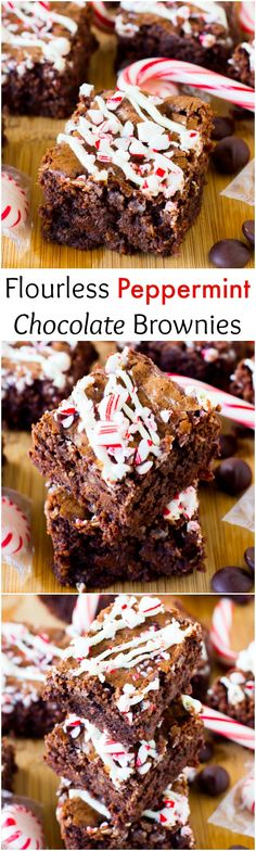 These Flourless Peppermint Chocolate Brownies are incredibly chewy, fudgy and full of chocolate and drizzled with white delicious. They are SO decadent!