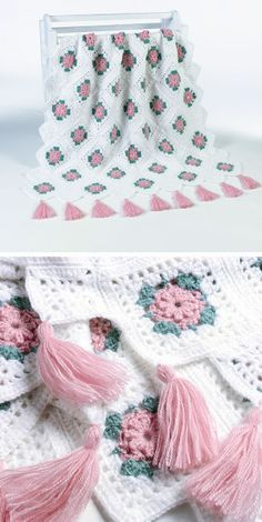 Blush Rose afghan, free pattern by Maggie Weldon.  *Note -- Small squares used…