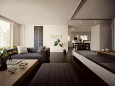 Definitely like the dark floors and light walls! Home Design Decor, Modern House Design, Home Interior Design, Interior Walls, Living Room Interior, Living Room Modern, Living Room Designs, Modern Japanese Interior, Tatami Room
