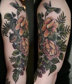 Kirsten Holliday flower squirrel berry hummingbird tattoo