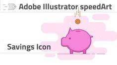 Drawing savings icon in Adobe Illstrator CC. Piggy bank icon spedart