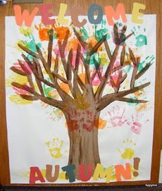 We are going to make a version of this for the toddler nursery at work.  Instead of painging the hands though we are tracing and cutting out the hands for each child in construction paper in different colors and then back taping them to the painted tree!