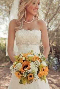 Sunflowers country wedding photo by carliestatsky