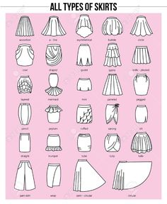 Set of different types of skirts on pink background. Set of different types of skirts on pink background. Simple Set of different types of skirts on pink background. Dress Design Sketches, Fashion Design Drawings, Fashion Sketches, Dress Designs, Drawing Sketches, Fashion Design Sketchbook, Wedding Dress Sketches, Flat Drawings, Drawing Fashion