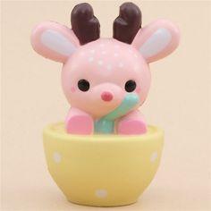 pink deer animal yellow bowl scented squishy kawaii LeiLei Squishy
