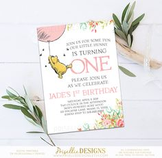Winnie the Pooh Baby Shower Invitation, Classic Winnie the Pooh Baby Shower Invitation, Floral Winnie the Pooh Pink Girl Baby Shower by PrisellieDesigns on Etsy Photo Invitations, Printable Birthday Invitations, Digital Invitations, Baby Shower Invitations, Invitation Ideas, 1st Birthday Girls, First Birthday Parties, First Birthdays, Birthday Ideas