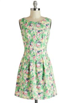 Springing Forward Dress - Green, Multi, Floral, Casual, A-line, Sleeveless, Spring, Short, Pleats, Boat, Exposed zipper, Daytime Party