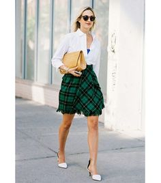 @Alexandra M What Wear - Get The Look: Reformation Plaid Midi Skirt ($148)