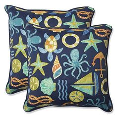 Pillow Perfect Outdoor Seapoint Throw Pillow 185Inch Neptune Set of 2 >>> Be sure to check out this awesome product.