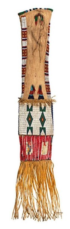 Bag; Arapaho, Tobacco, Beaded Hide, Geometric Design, 38 inch.
