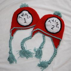 Thing 1 and Thing 2 Hats with Braids by MalikaPink on Etsy, $40.00