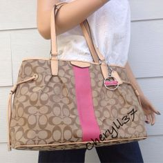 2c7a5b6e19c0 COACH Signature Khaki Pink Tan Leather Satchel Shoulder Handbag Purse Bag  New