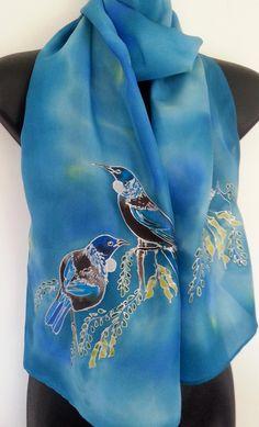 Tui on pale blue silk scarf with yellow kowhai tree flowers Tui Bird, Kiwiana, Silk Painting, Silk Scarves, Hand Painted, Painted Silk, Valentine Gifts, New Zealand, Birds