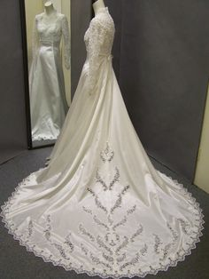 Formal lace backed Vintage Wedding Gown by ErmaAndAgnes on Etsy, $265.00