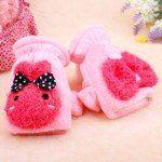 Cute Cartoon Style Plush Warm Winter Half Finger Gloves for Girls