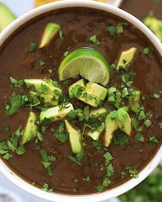 [orginial_title] – Brittany (Eating Bird Food) Easy Vegan Black Bean Soup The perfect vegan black bean soup recipe! It's healthy, easy to toss together and super flavorful. Instructions included for the slow cooker and stovetop. Healthy Dinner Recipes, Vegetarian Recipes, Cooking Recipes, Healthy Soup, Lunch Recipes, Healthy Black Bean Recipes, Vegan Bean Recipes, Lunch Foods, Vegetarian Barbecue