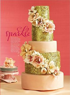 Blush and gold sequin wedding cake