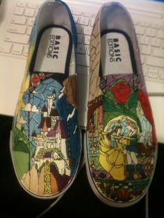 aedb5f4ef92c Items similar to Beauty and the Beast custom made shoes on Etsy
