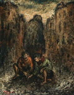 Yosl Bergner (b1920) Australian Artists, Street Children, Art Station, Texture, Warsaw, Camps, Painting, Fed Up, Surface Finish