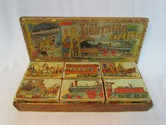 The Lightning Express, 19th Century, Chromolithograph wooden blocks, vintage blocks
